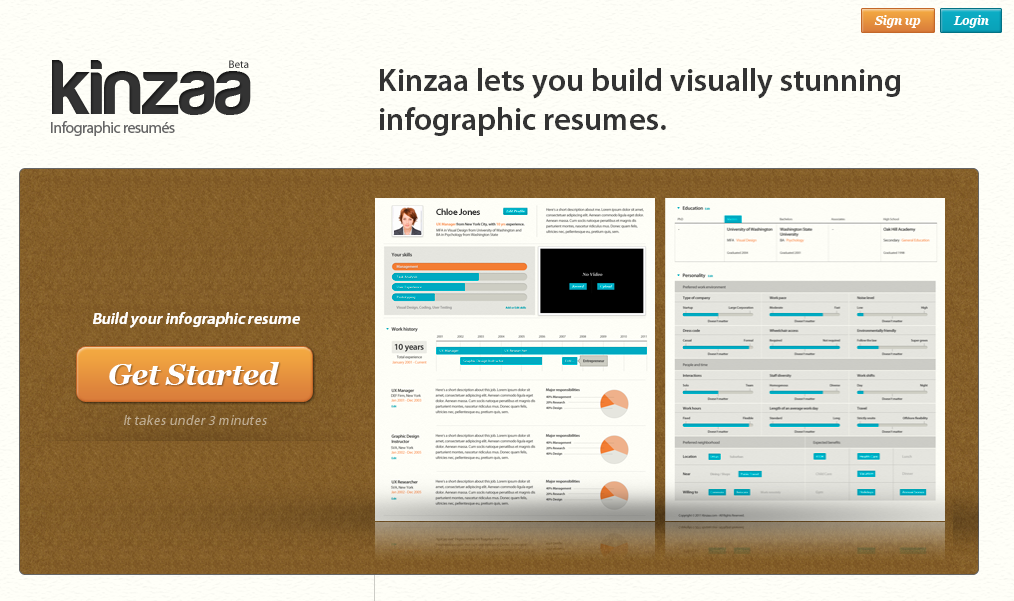 Kinzaa lets you build visually stunning infographic resumes.