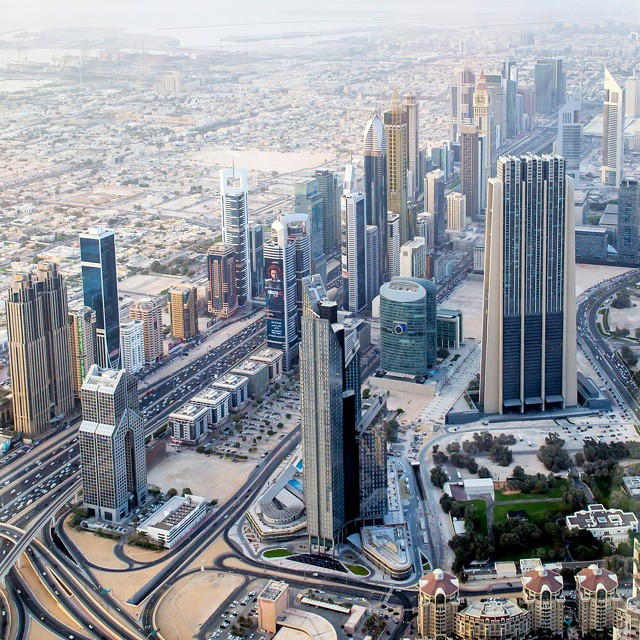 View from the 148th floor of Burj Khalifa overlooking Sheikh Zayed Road. #tbt #burjkhalifa #dubai #nofilter