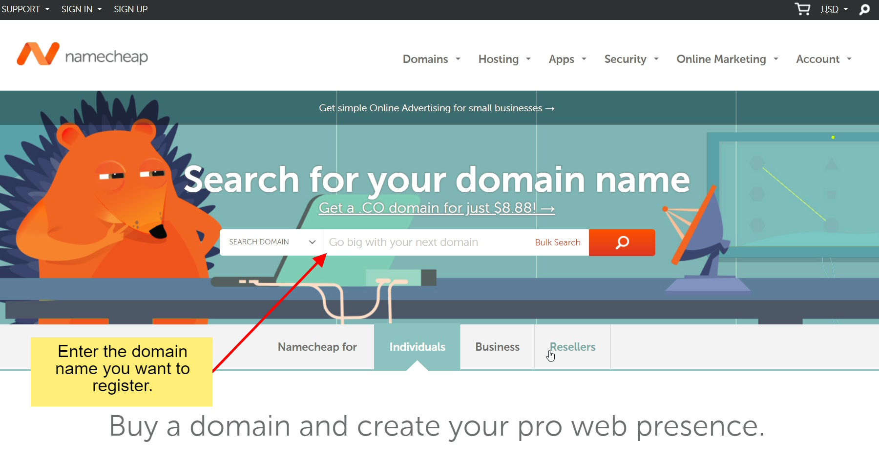 Go to namecheap.com